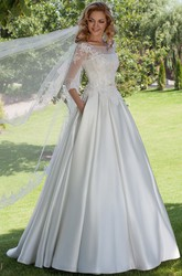 Floor-Length Ball Gown Appliqued Scoop Neck 3-4 Sleeve Satin Wedding Dress