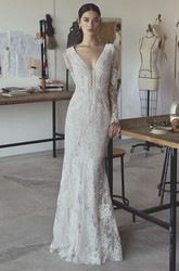 Boho Sexy Plunging Illusion Long Sleeve Lace Mermaid Wedding Dress
