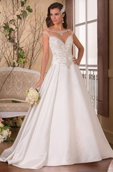 Cap-Sleeved Bateau-Neck A-Line Wedding Dress With Jeweled Illusion Neck