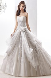 Strapless Beaded A-Line Ruching Bridal Gown With Floral Decoration And Pleated Bust