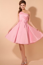 Strapless Taffeta Dress With Flower And Ruching Top