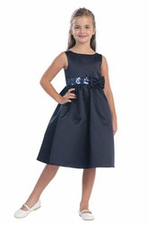 Midi Bowed Tiered Sequins&Satin Flower Girl Dress With Sash