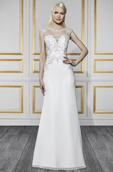 Sheath Sleeveless Jewel-Neck Embroidered Long Satin&Tulle Wedding Dress With Beading And Illusion