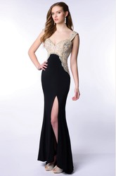 Sweetheart Empire Jersey Homecoming Dress With Crystal Detailing And Side Slit