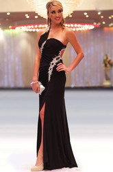 Sheath One-Shoulder Long Beaded Sleeveless Chiffon Prom Dress With Split Front