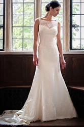 Sheath Long Sleeveless Bateau-Neck Appliqued Lace&Satin Wedding Dress With Beading
