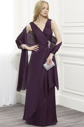 Draped Sleeveless V-Neck Chiffon Mother Of The Bride Dress With Cape