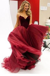 Modern Organza Burgundy Princess Evening Dress 2018 Sleeveless Sweetheart