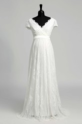 A Line Beach Floor-length Bow Sash Ribbon Lace Maternity Wedding Dress