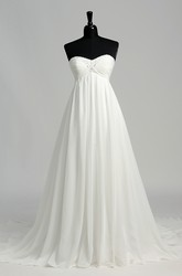 Chiffon A-line Sweetheart Sleeveless Wedding Dress with Beading and Ruching