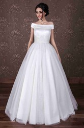 Ball Gown Off-The-Shoulder Long Tulle Wedding Dress With Beading And Zipper