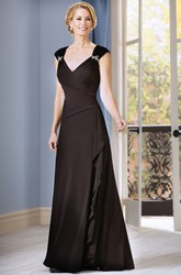 Cap-Sleeved V-Neck Long Mother Of The Bride Dress With Ruffles And Beadings