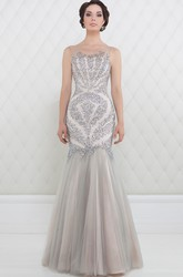Mermaid Beaded Maxi Scoop-Neck Sleeveless Tulle Prom Dress With Pleats