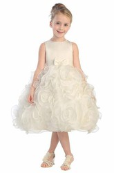 Tea-Length Bowed Tiered Organza&Satin Flower Girl Dress