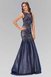 Mermaid Maxi Scoop-Neck Sleeveless Illusion Dress With Beading And Appliques