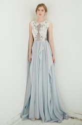 Jewel-Neck Sleeveless A-Line Chiffon Draped Dress With Lace Appliqued Top