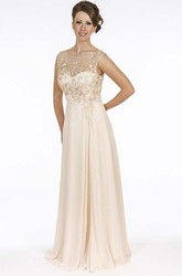 Sheath Sleeveless Floor-Length Embroidered Scoop-Neck Chiffon Prom Dress With Beading