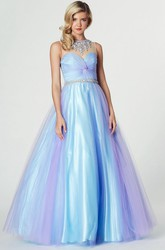 A-Line High Neck Ruched Sleeveless Tulle Prom Dress