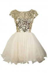 A-line Ball Gown Short Mini Short Sleeve Bateau Ruffles Sequins Tulle Sequins Homecoming Dress