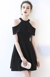 Simple Little Black Dress With Cap Sleeves And Halter Neckline