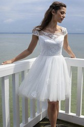 Knee-length Tulle Dress With Cute Keyhole And Illusion Lace