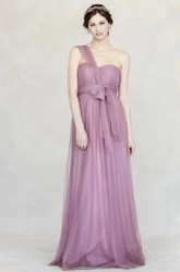 One-Shoulder Bowed Sleeveless Empire Tulle Bridesmaid Dress With Straps