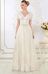 Floor-Length V-Neck Appliqued Short-Sleeve Lace Wedding Dress