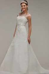 A-Line Jeweled Cap-Sleeve Scoop-Neck Lace Wedding Dress With Bow