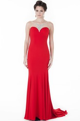 Sheath Sleeveless Scoop-Neck Beaded Floor-Length Jersey Evening Dress