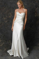 Sheath Ruched Haltered Floor-Length Sleeveless Satin Wedding Dress With Broach