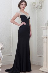 Sheath Cap-Sleeve V-Neck Long Beaded Jersey Evening Dress
