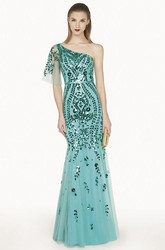 Trumpet Tulle Long Prom Dress With Sequins And Single Strap Single Half Sleeve