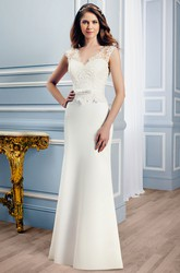Sheath Floor-Length Appliqued Sleeveless V-Neck Satin Wedding Dress With Court Train And Illusion Back