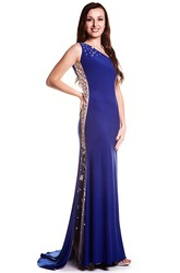 Sheath Long One-Shoulder Sleeveless Beaded Jersey Prom Dress With Low-V Back And Brush Train