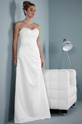 Sheath Sweetheart Floral Sleeveless Satin Wedding Dress