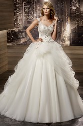 V-neck A-line Wedding Gown with Beaded Corset and Asymmetrical Ruffles Overlayer