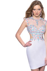 Jewel Neck Short Sheath Sleeveless Homecoming Dress With Rhinestone Embellishment