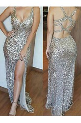 Sleeveless Floor-length Mermaid Trumpet Sheath V-neck Sequins Dress