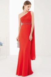 Single Strap Side Drape Sheath Chiffon Long Prom Dress With Empire Waist
