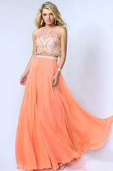 A-Line Floor-Length Jewel-Neck Sleeveless Chiffon Dress With Beading