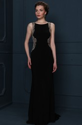 Beaded Sleeveless Scoop Neck Chiffon Evening Dress With Brush Train