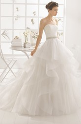 Ball Gown Jeweled Strapless Organza Wedding Dress With Lace And Draping