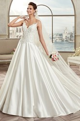 Sweetheart A-Line Satin Bridal Gown With Lace Bodice And Spaghetti Straps