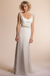 V-Neck Long Jeweled Chiffon Wedding Dress With Sweep Train And V Back