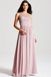 Ruched Sleeveless Bateau Neck Chiffon Bridesmaid Dress With Beading And Straps