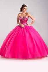 Sweetheart Tulle Ball Gown With Sequined Corset And Lace-Up Back