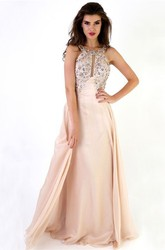 Maxi Sleeveless Scoop Neck Beaded Chiffon Backless Prom Dress