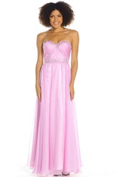Beaded Sweetheart Sleeveless Chiffon Prom Dress