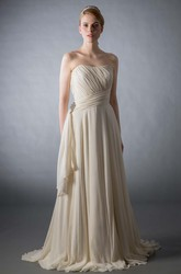 Floor-Length Strapless Ruched Broach Chiffon Wedding Dress With Brush Train