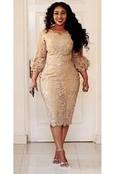 Sexy Plus Size Scalloped Lace Vintage Bodycon Knee-length 3-4 Length Sleeve Puff Balloon Dress